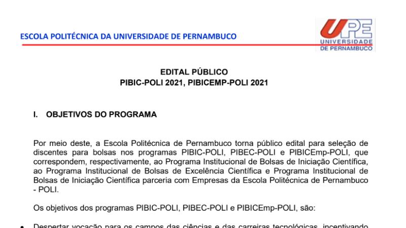 Edital PIBIC/PIBIC-Emp -POLI 2021