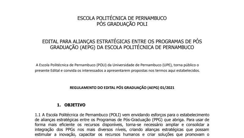 EDITAL PARA ALIANÇAS ESTRATÉGICAS ENTRE OS PROGRAMAS DE PÓS-GRADUAÇÃO (AEPG) DA ESCOLA POLITÉCNICA DE PERNAMBUCO